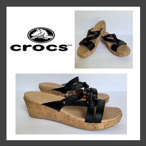 Crocs A-Leigh Black Leather Strappy Mini Wedge 9W